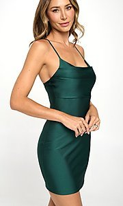 Image of tight dark green short simple party dress. Style: LAS-LOV-21-QD4980 Front Image