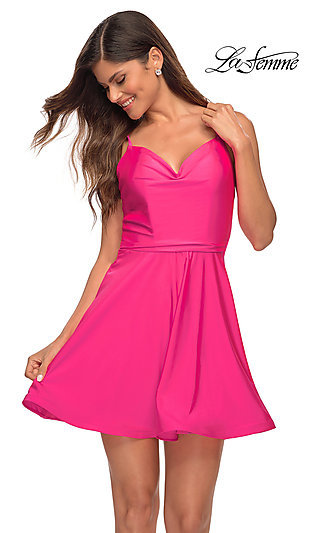 Backless Hot Pink Short A-Line Party Dress