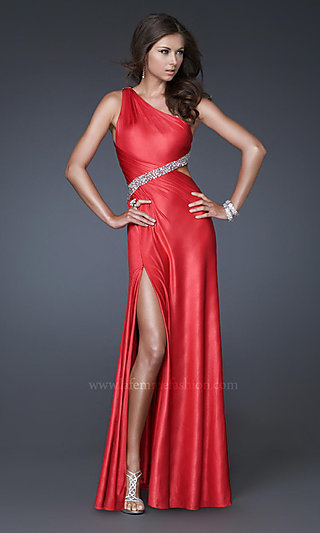 Open-Back Beaded One-Shoulder Long Jersey Gown