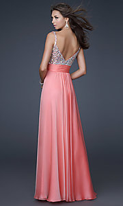 Image of La Femme beaded long formal dress. Style: LF-16802 Back Image