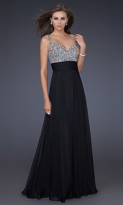 Image of La Femme beaded long formal dress. Style: LF-16802 Detail Image 3