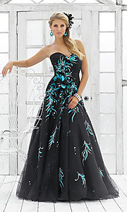 Image of peacock black strapless prom ball gown by Blush. Style: BL-5111 Front Image