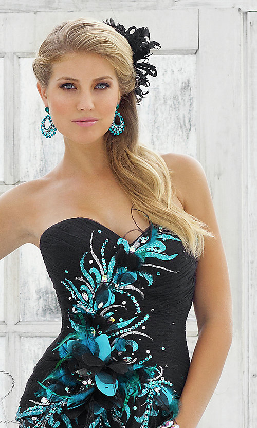 Image of peacock black strapless prom ball gown by Blush. Style: BL-5111 Back Image
