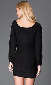 Image of short scoop-neck dress with long sleeves. Style: JN-1178S Back Image