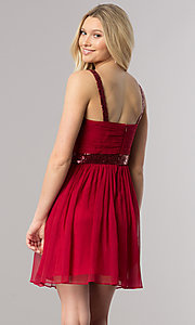 Image of sleeveless short homecoming party dress with sequins.  Style: DQ-8381 Back Image