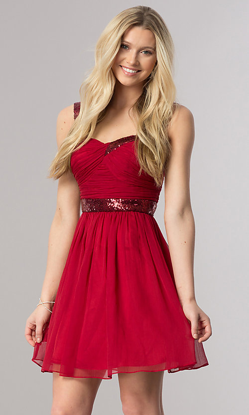 Image of sleeveless short homecoming party dress with sequins.  Style: DQ-8381 Detail Image 2