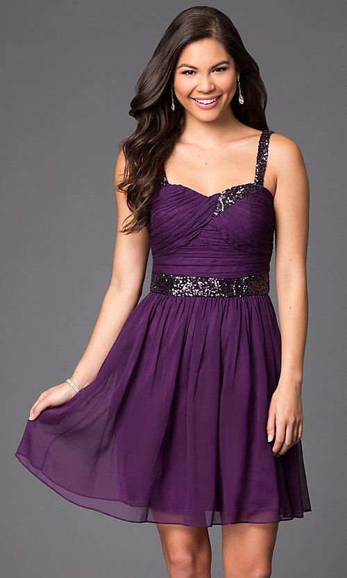 Image of sleeveless short homecoming party dress with sequins.  Style: DQ-8381 Front Image