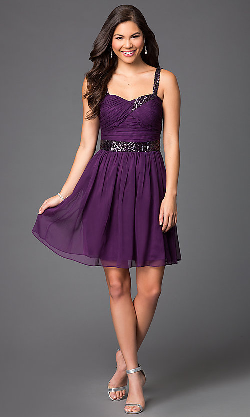 Image of sleeveless short homecoming party dress with sequins.  Style: DQ-8381 Detail Image 1