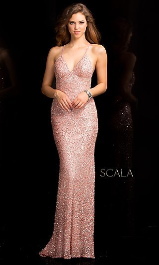 Open Back Dress by Scala with V-Neckline