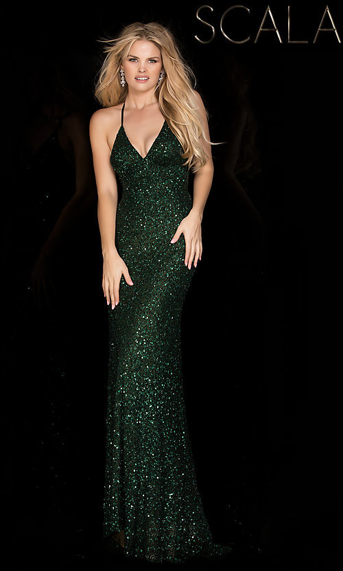 Long V-Neck Sequin Dresses, Open Back Prom Gowns - Simply Dresses